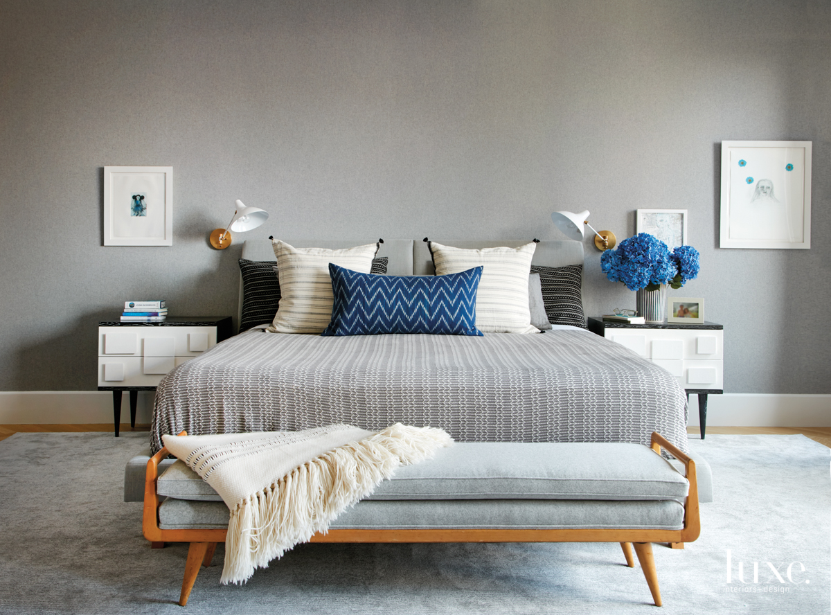 modern gray bedroom blue accents