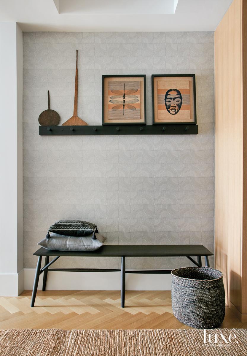 modern hall neutral black bench