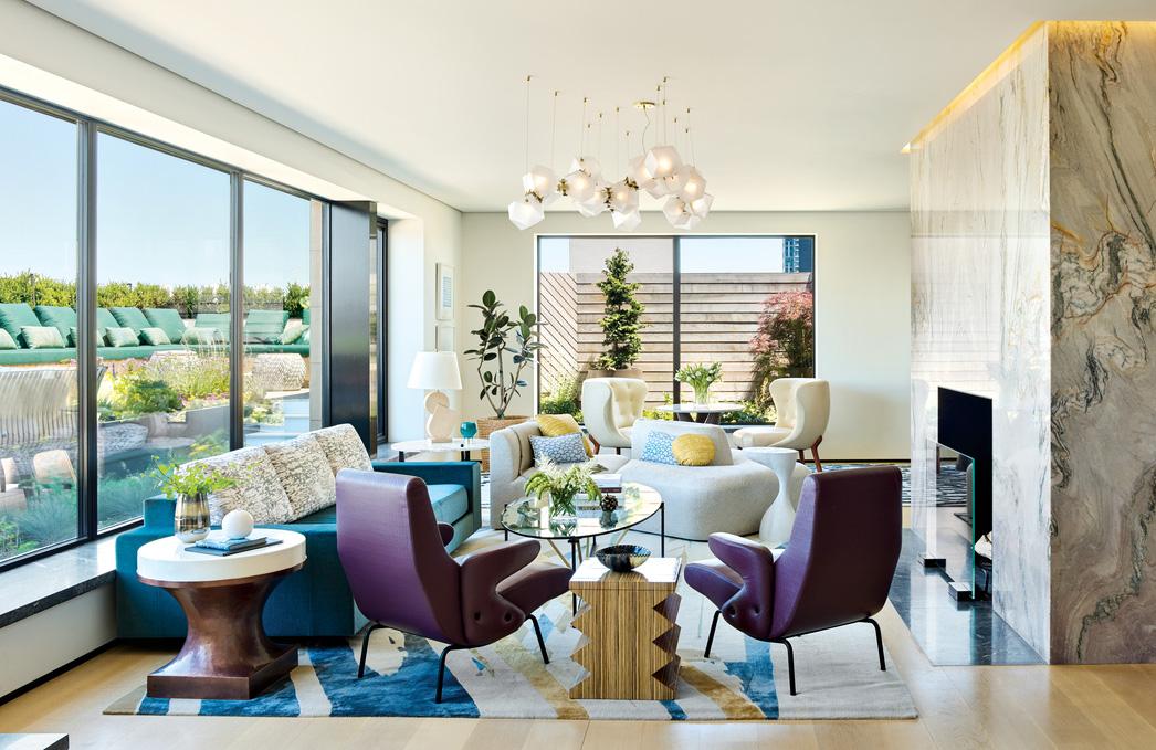 modern multi-color living room blue...