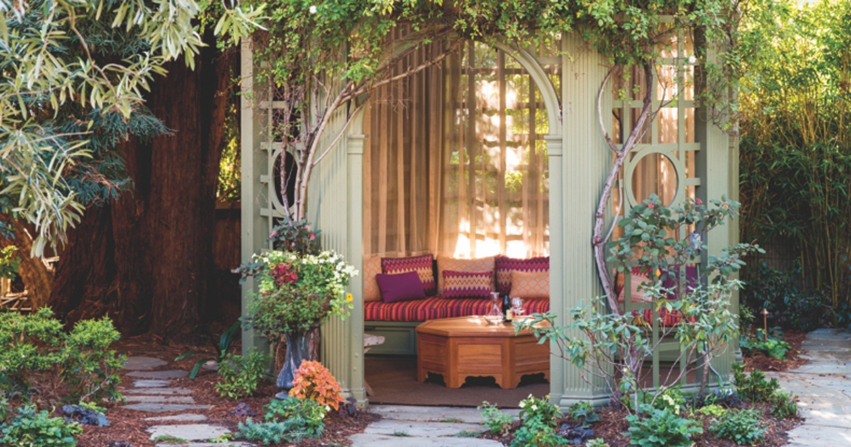 eclectic outdoor sitting area enclosed