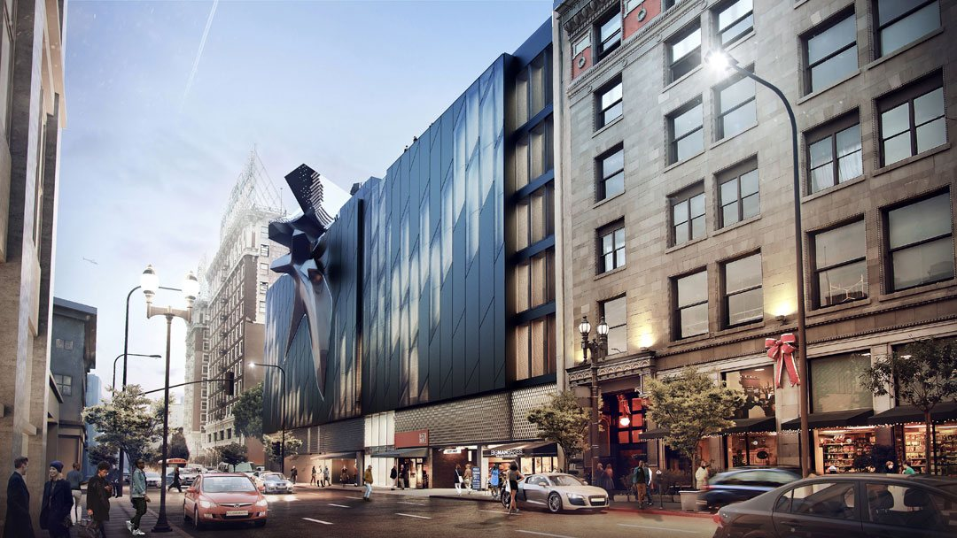 A rendering of downtown's Main Museum of Los Angeles Art, by Tom Wiscombe Architecture, that is scheduled for completion next year.
