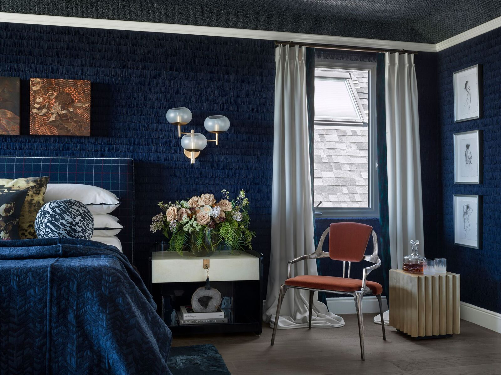 Upstairs, elders sleep in an elegant master bedroom designed by Jeff Schlarb. He calls it Ten Thousand Dreams, explaining,