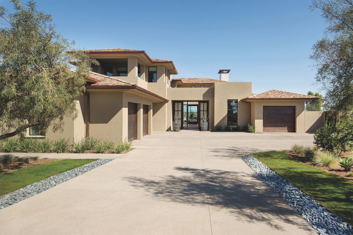 contemporary exterior neutral driveway