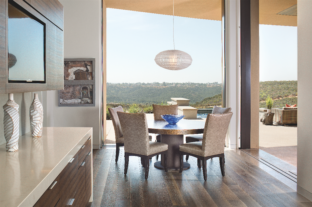 contemporary dining area white-oak flooring