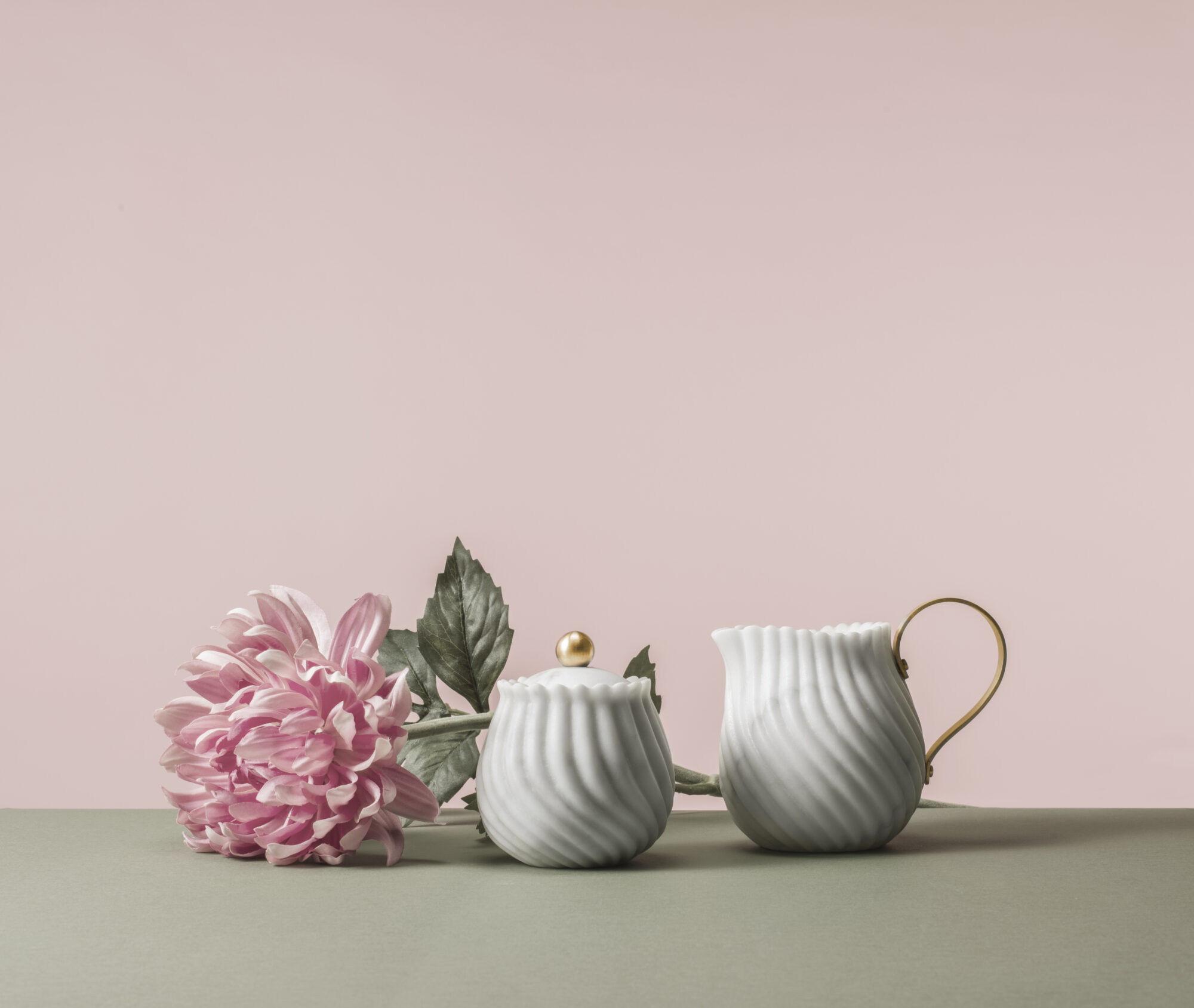 Sugar Bowl and Milk Jug from Victoria Complete Tea Set By Bethan Gray by Editions Milano, $9,970, Marble and Brass