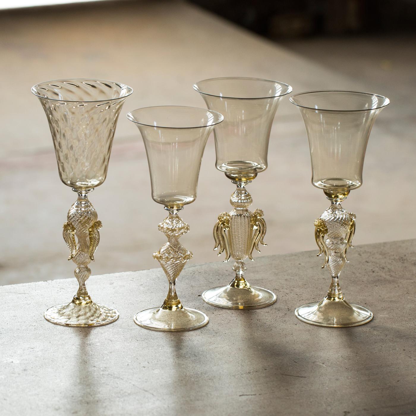 Set of 4 Pro Champagne N*2 Murano Wine Glasses by Fabiano Amadi, $580, Murano Glass