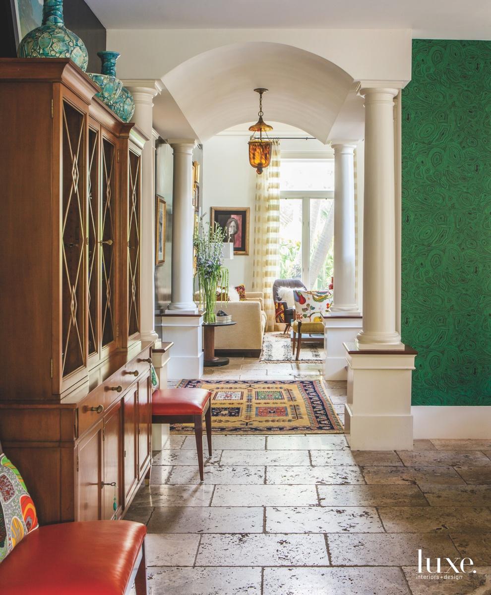mediterranean hallway rustic unfilled flooring