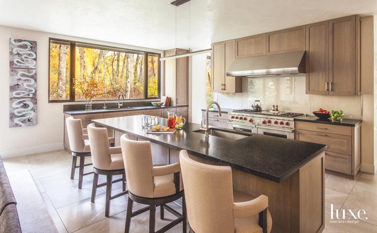 modern neutral kitchen beige bar...