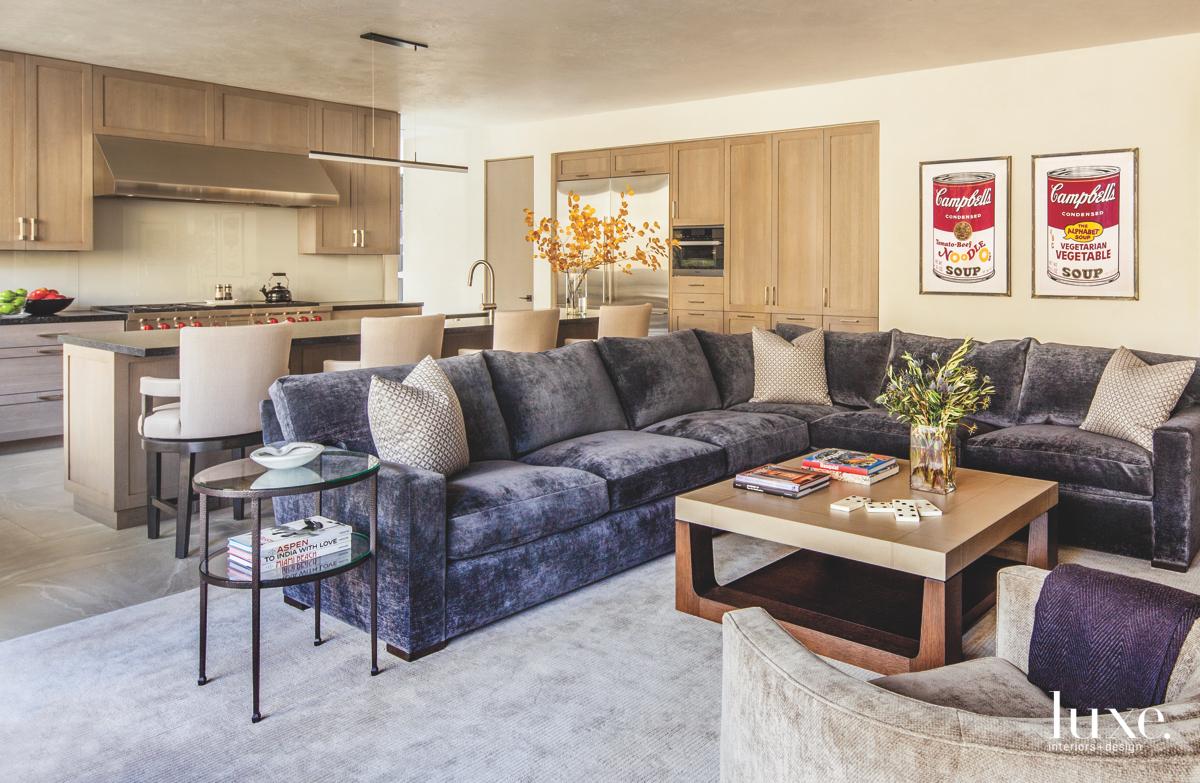 modern living room gray sectional...