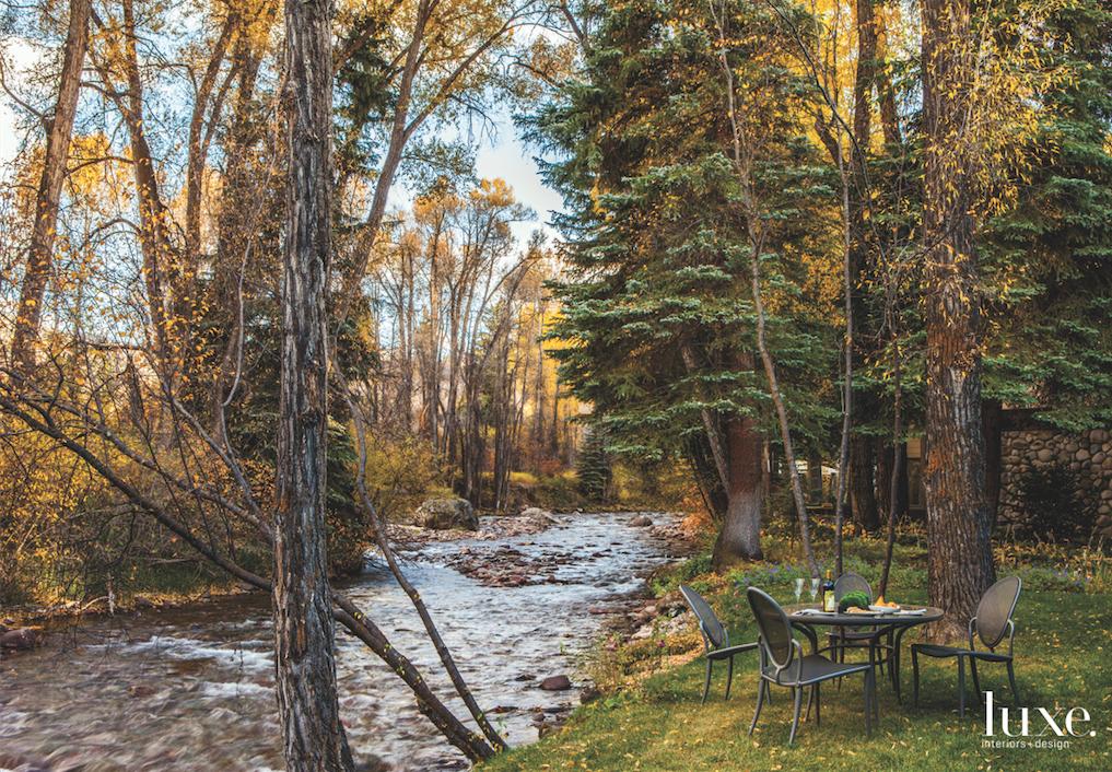 modern exterior backyard river dining...