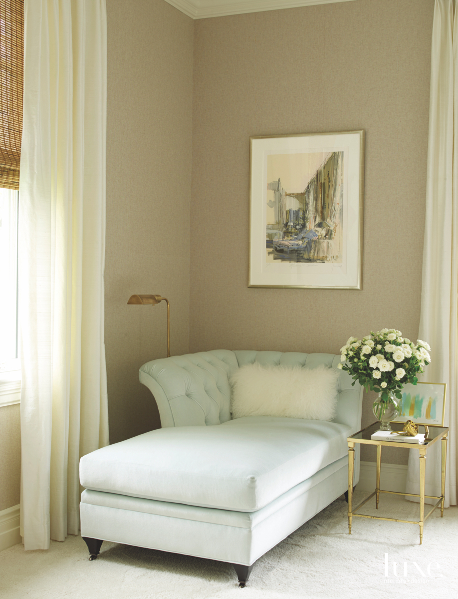 contemporary bedroom chaise lounge mirrored-brass...