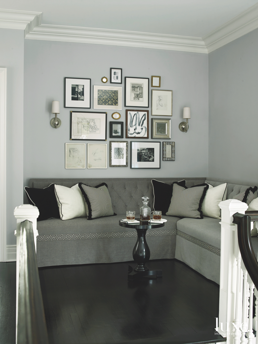 contemporary sitting area gray sectional