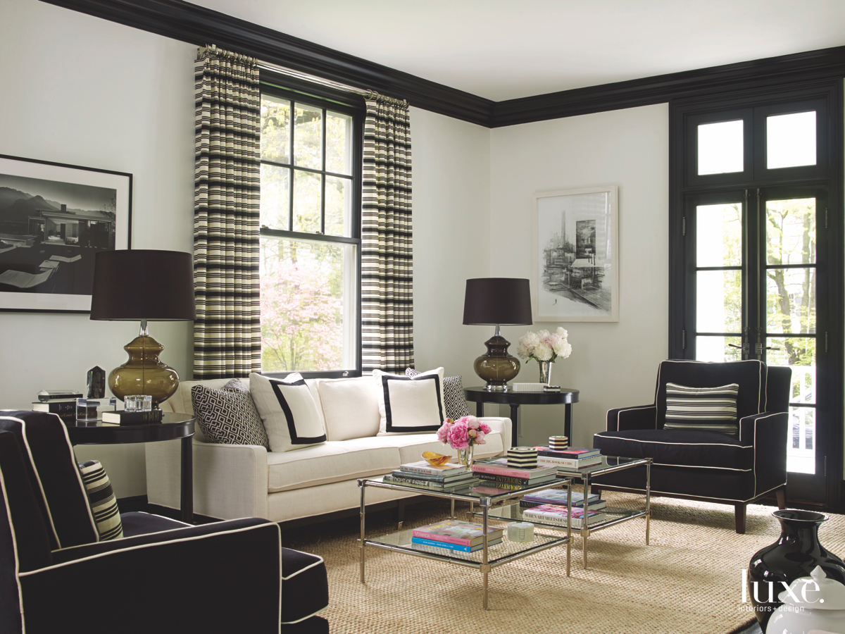 contemporary black and white living...