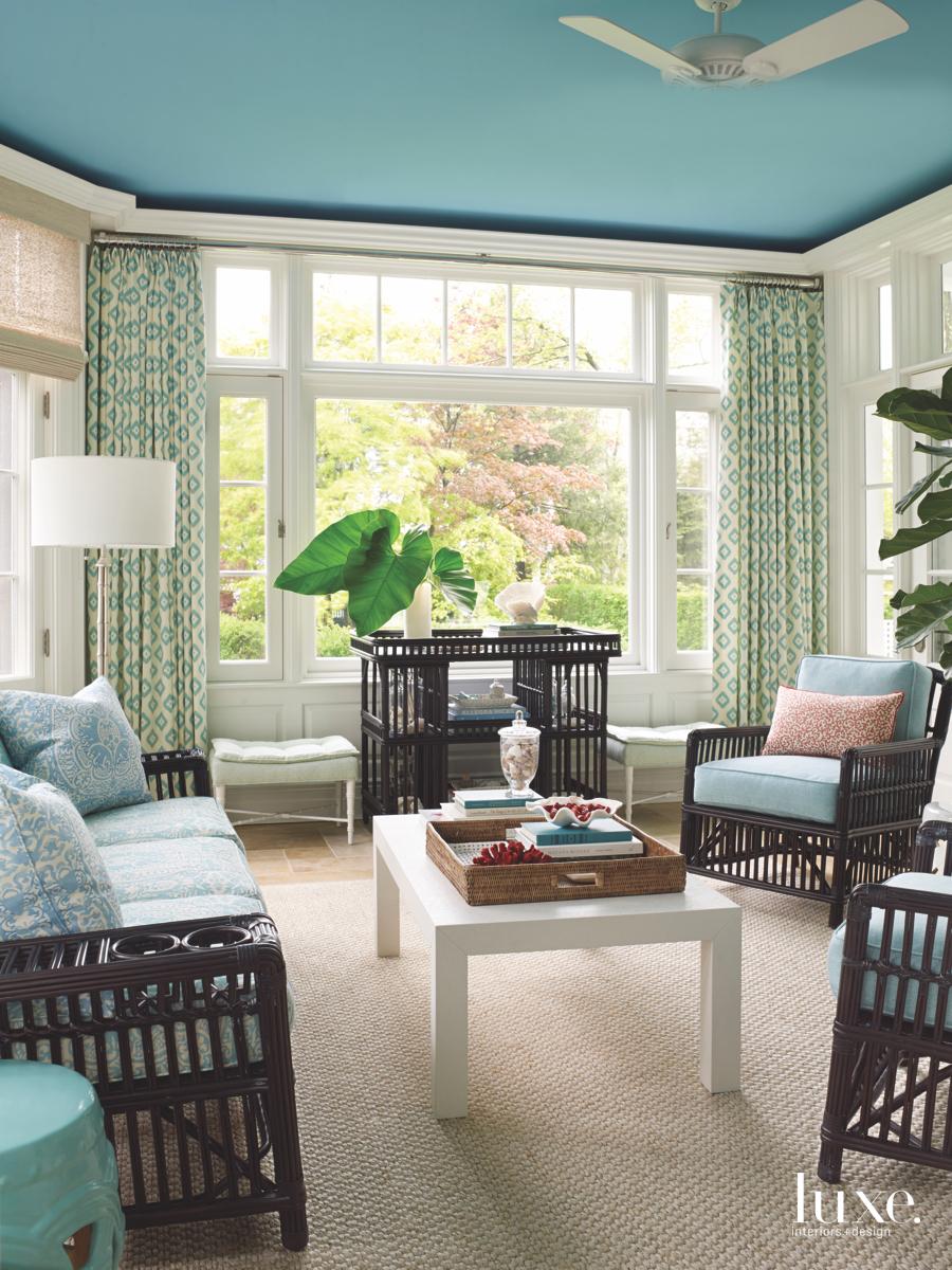 contemporary living room blue ceiling...