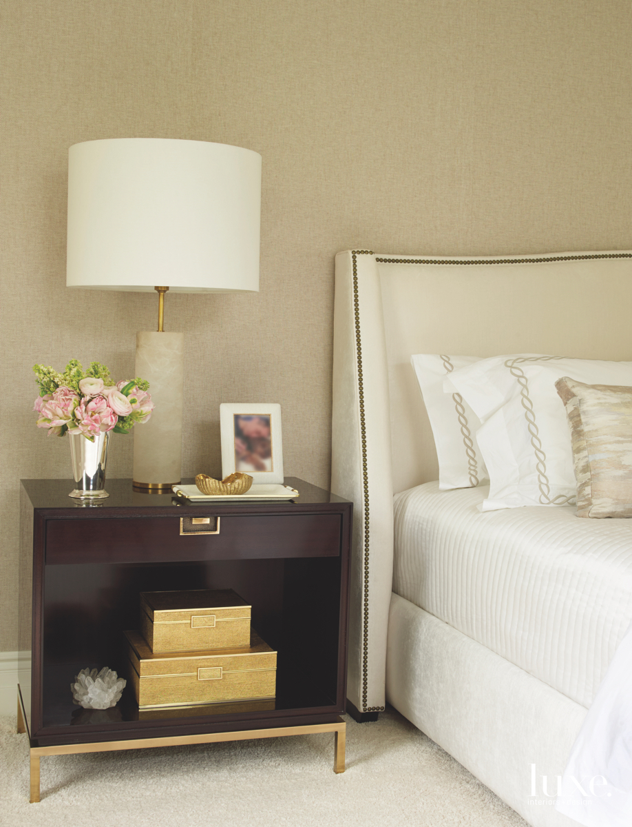 contemporary bedroom neutral gold accents