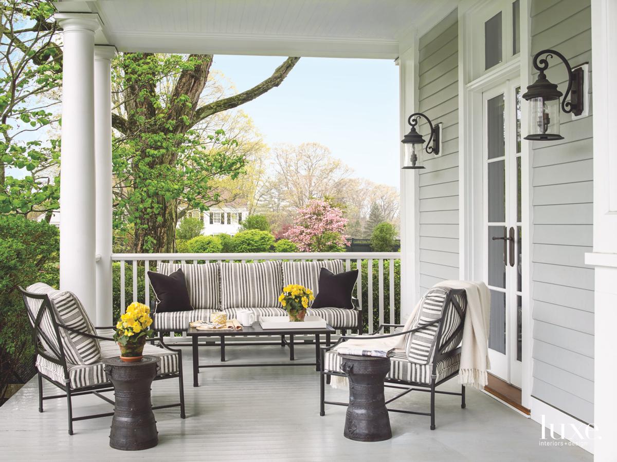 contemporary outdoor sitting area gray...