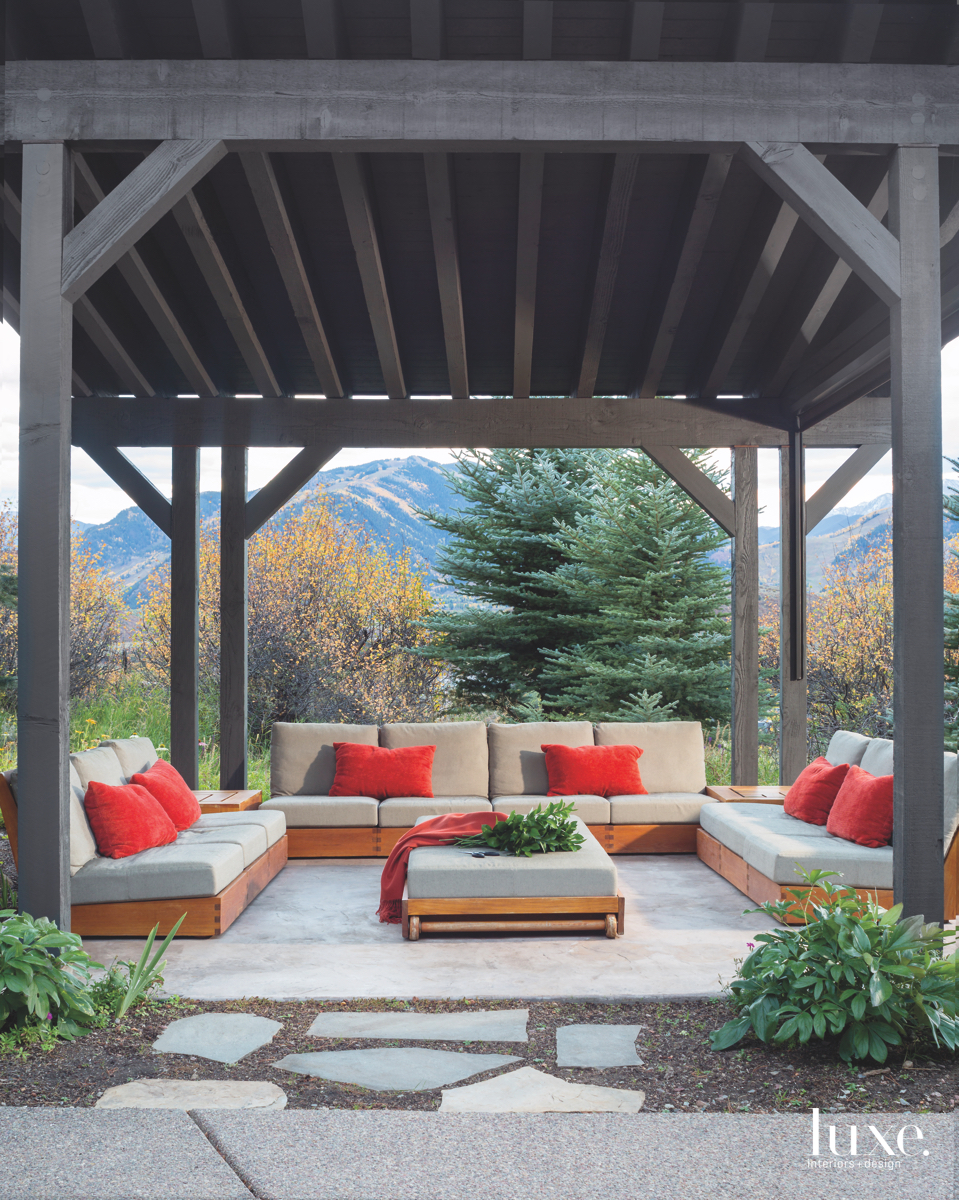 contemporary outdoor sitting area red...