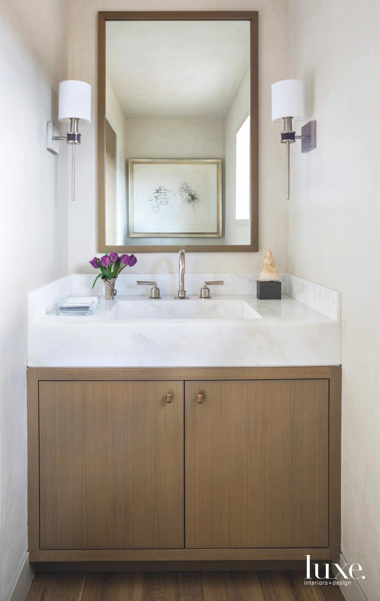 contemporary neutral bathroom wood-framed mirror