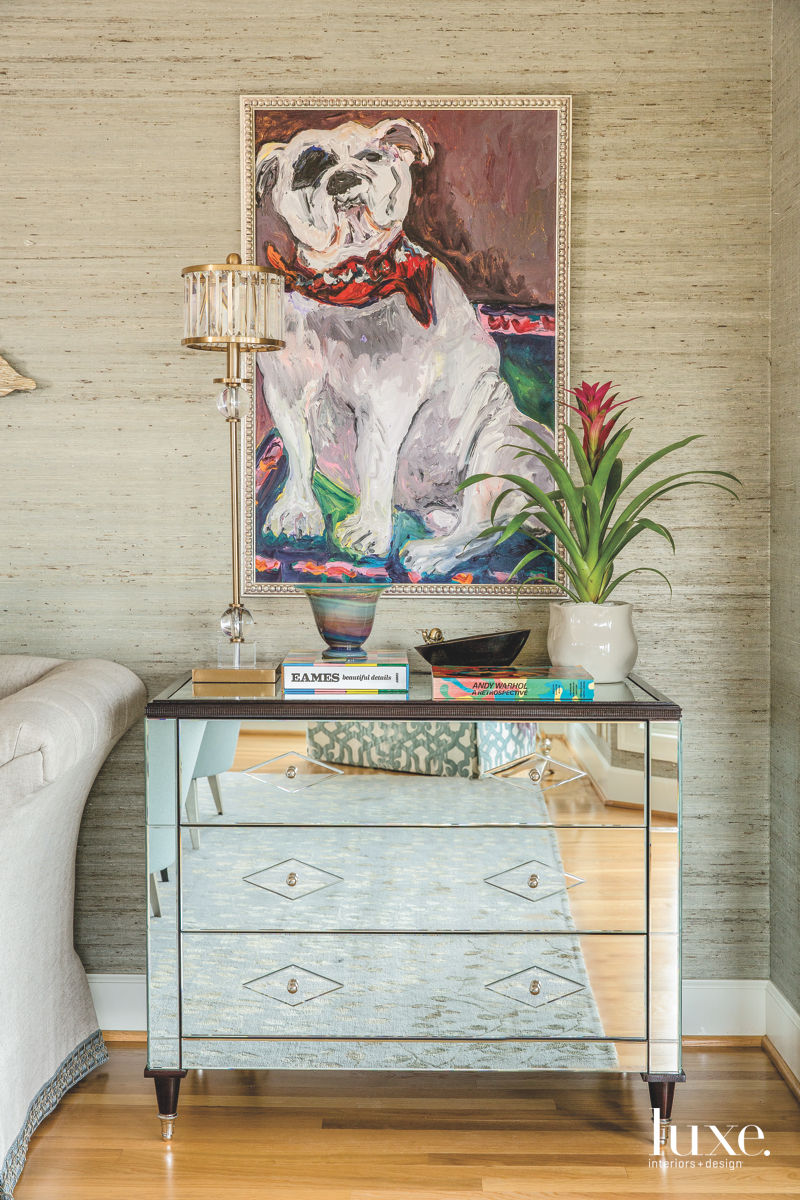 traditional living room bulldog painting