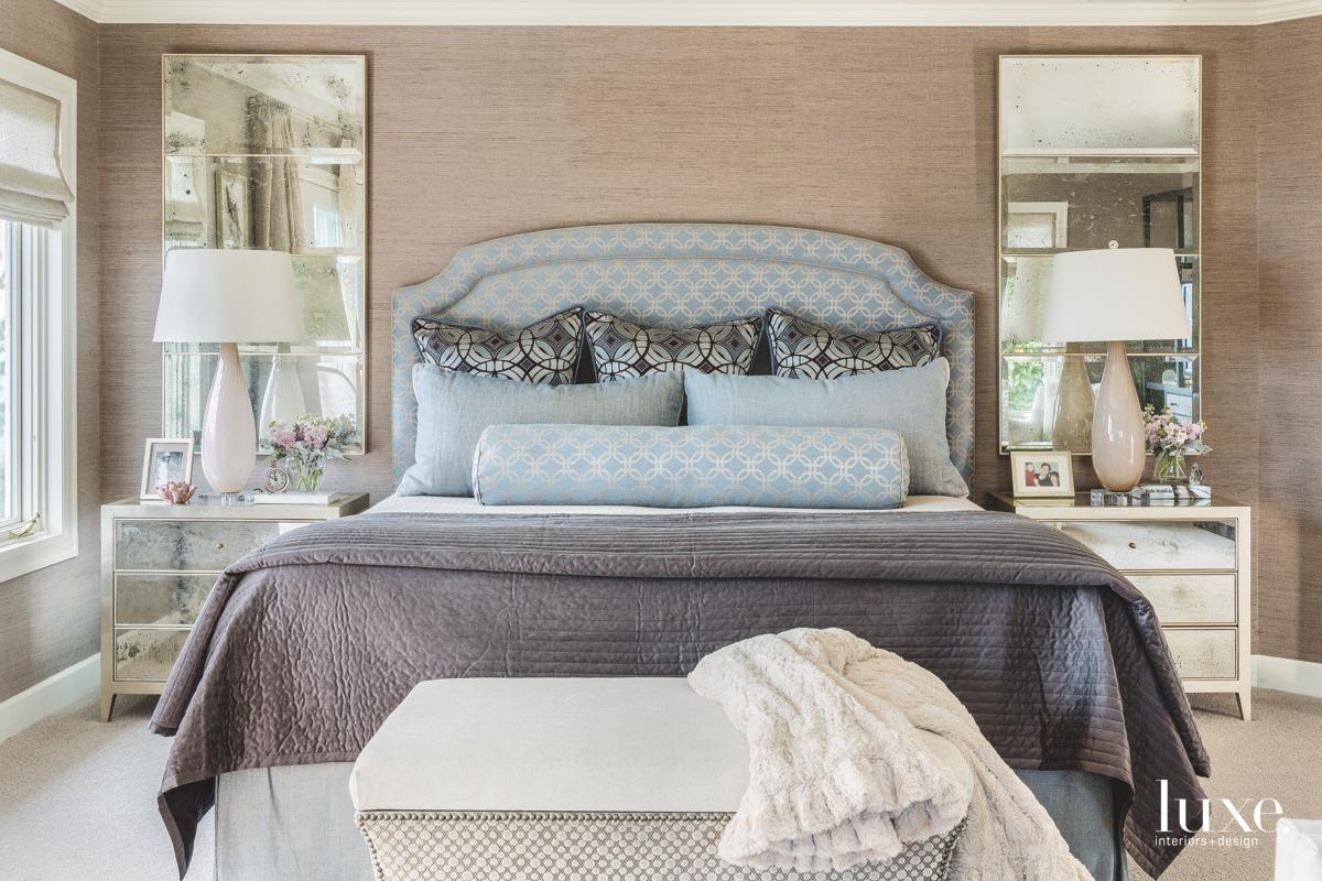 traditional neutral bedroom blue headboard...