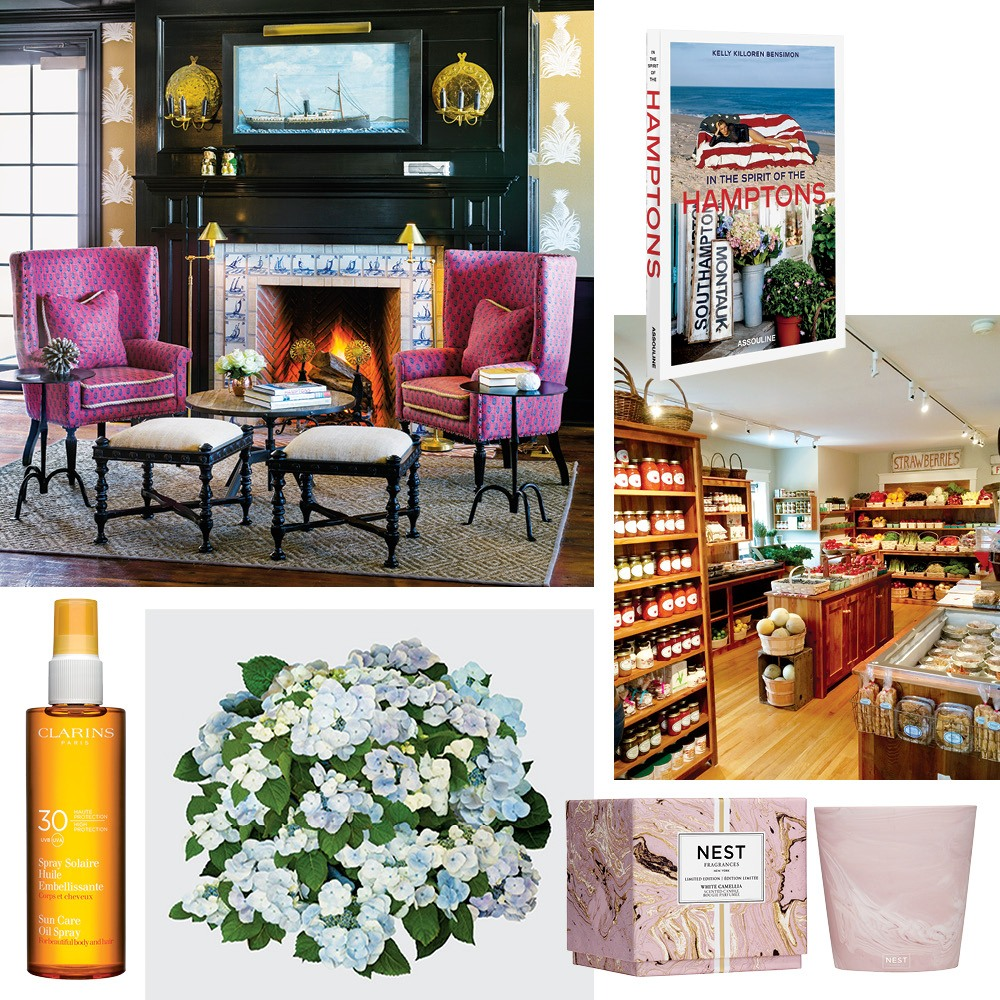 Clockwise from top left: The cozy setting of the Baron's Cove bar in Sag Harbor, In the Spirit of the Hamptons by Kelly Killoren Bensimon, the plethora of offerings at East Hampton's Round Swamp Farm, Nest's White Camellia candle, Hydrangea I by Nancy Richardson, and Clarins Sun Care oil spray.