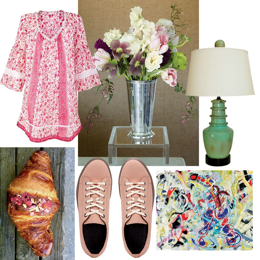 Clockwise from top: Poupette St Barth's Tunica Blabla, Flowers from East Hampton Gardens, a lamp from Gustavo Olivieri, Alexander Yulish's Connected, Lanvin sneakers, and a croissant from Carissa's Breads.