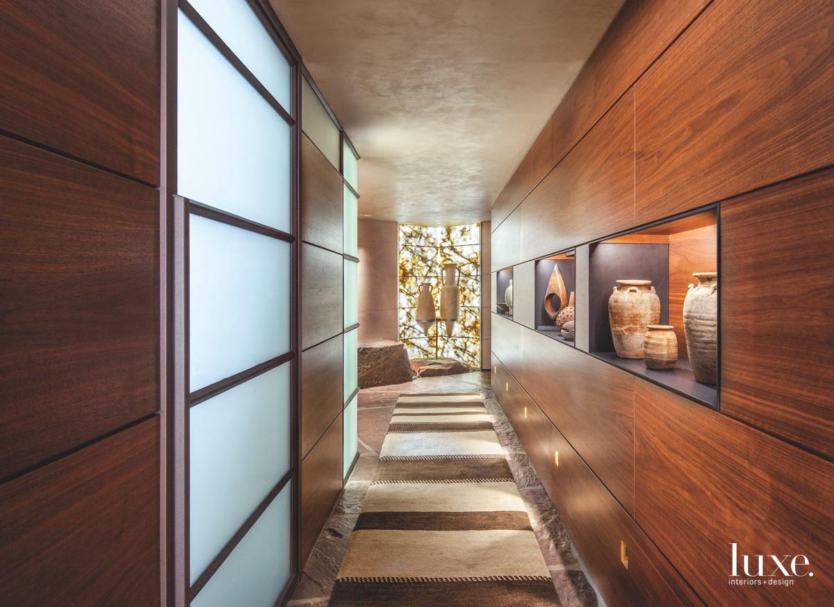 modern hallway walnut paneling