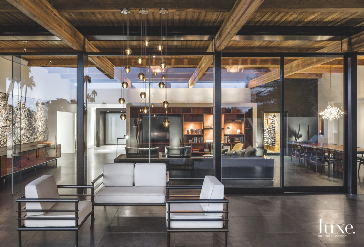 modern exterior sitting area near...