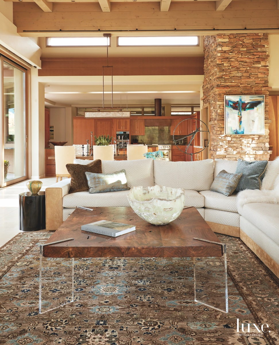 transitional living room earthy palette