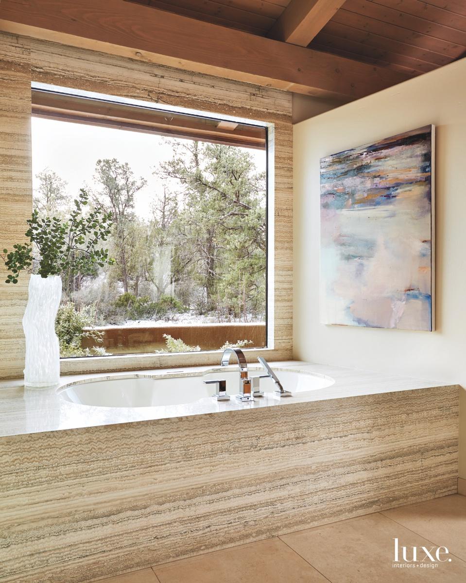 transitional neutral bathroom bathtub glass...