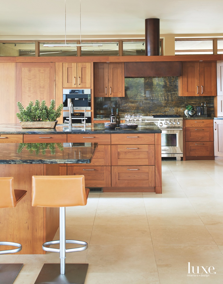 transitional kitchen red hues cherry...