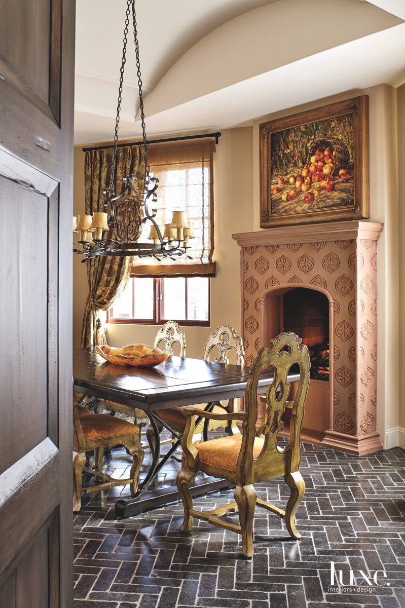 traditional dining room gold accents...