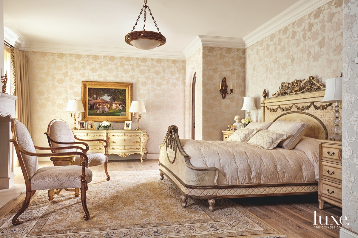 traditional bedroom neutral hand-carved bed...