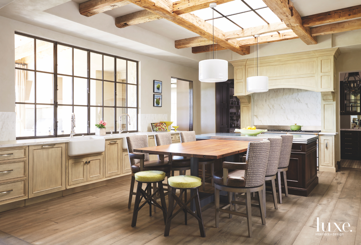 contemporary kitchen neutral ceiling beams...