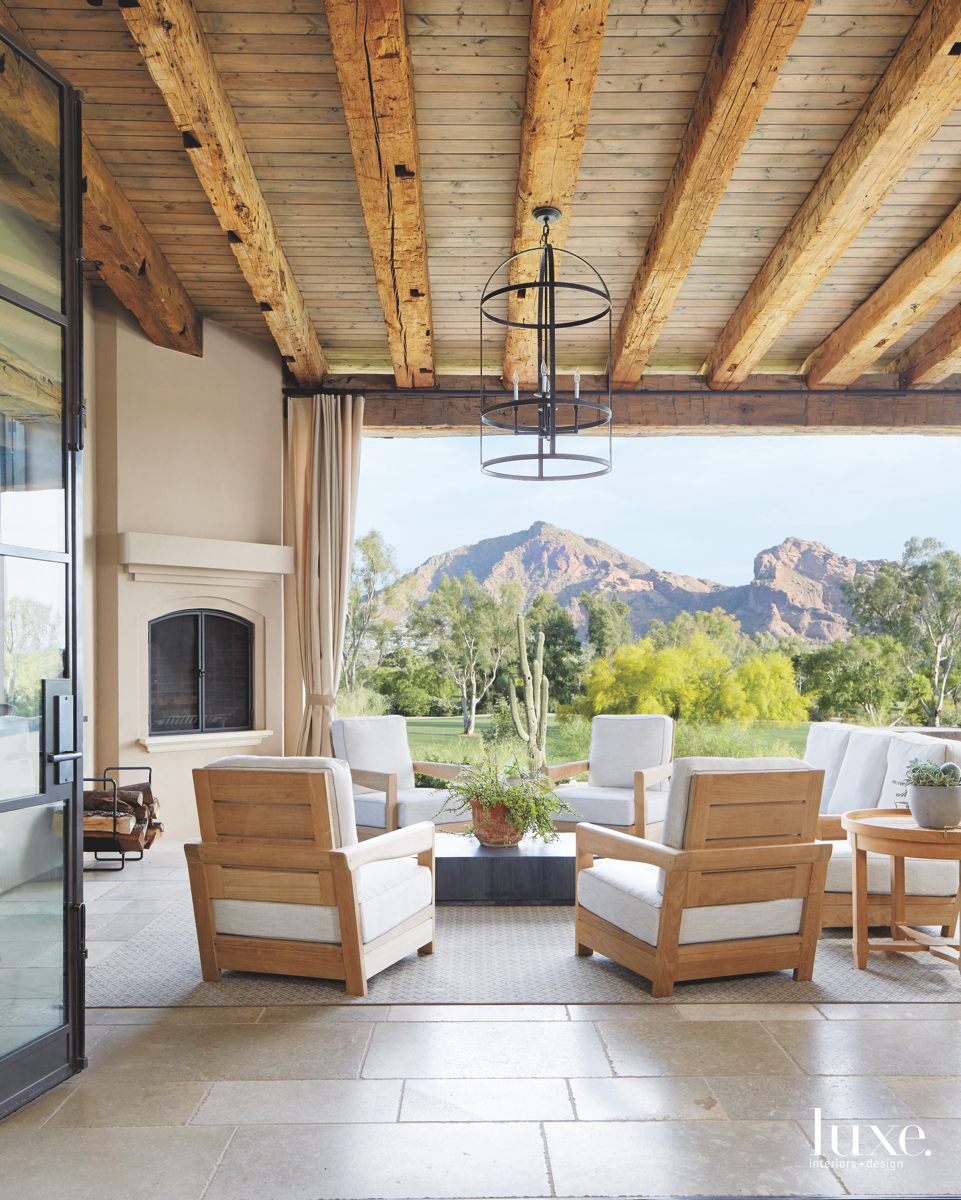 contemporary outdoor sitting area neutral...