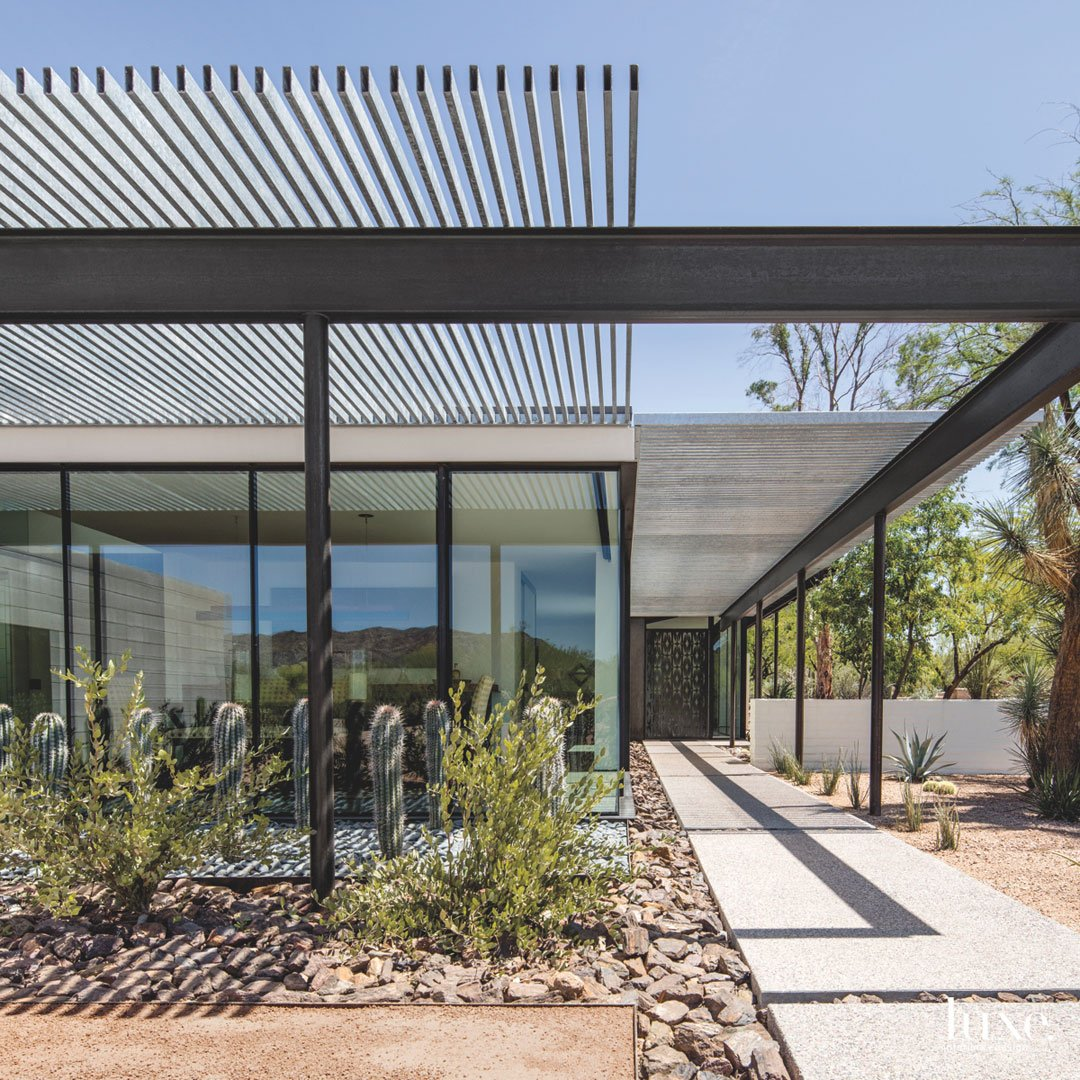 modern exterior walkway landscape glass...