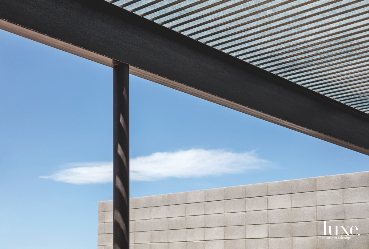 modern exterior beam ceiling