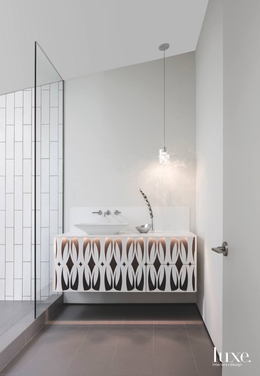 modern white bathroom steel pattern...