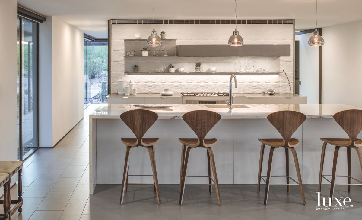 modern white kitchen walnut barstools...