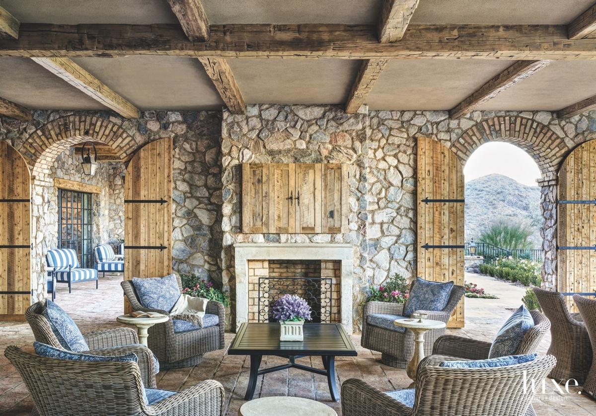 mediterranean living area rustic stonework