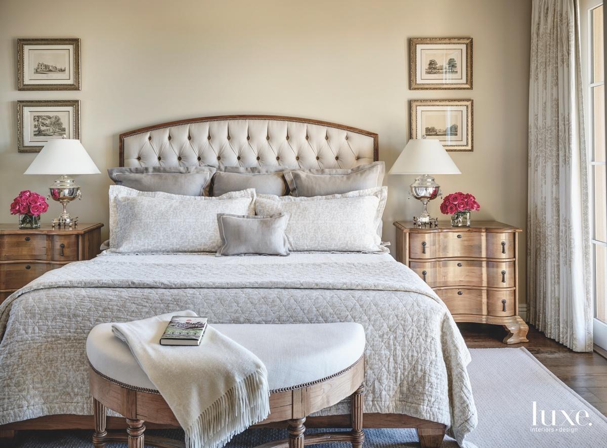 mediterranean neutral bedroom tufted headboard