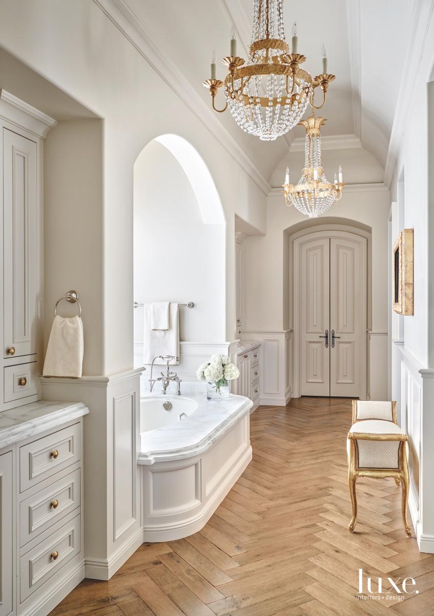 mediterranean bathroom chandeliers gold accents