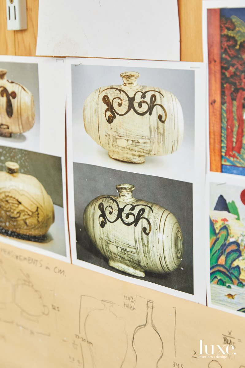 Photos of Buncheong-ware bottles from the Joseon Dynasty in Korea have inspired the artist's forms as well as his move toward a coarser, darker clay.