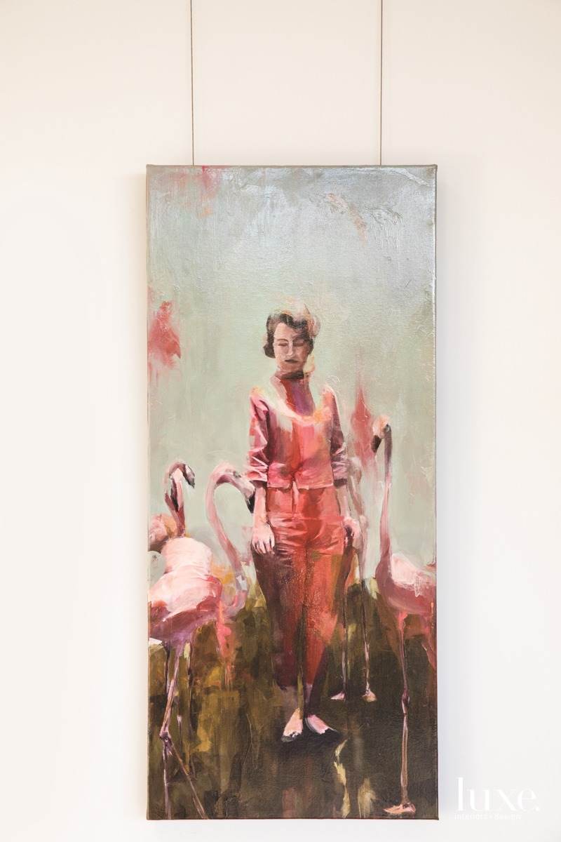 His recent painting Still Standing in a Field of Flamingos is one of two pieces inspired by the same photograph.