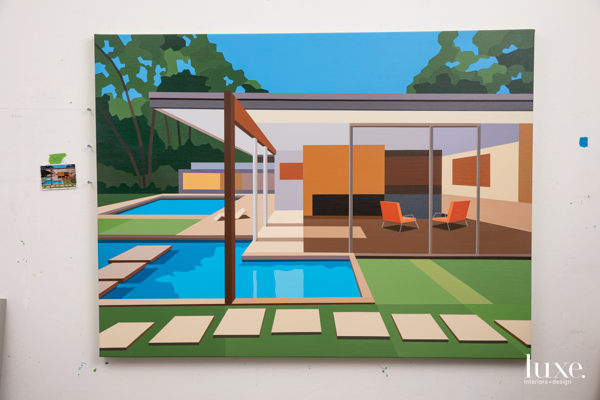 Tucson artist Andy Burgess refers to archival images for his paintings, like his latest version of the Singleton House by Richard Neutra.