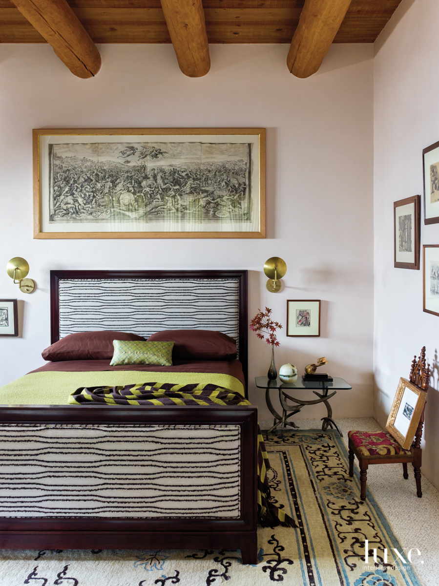 eclectic bedroom green and brown