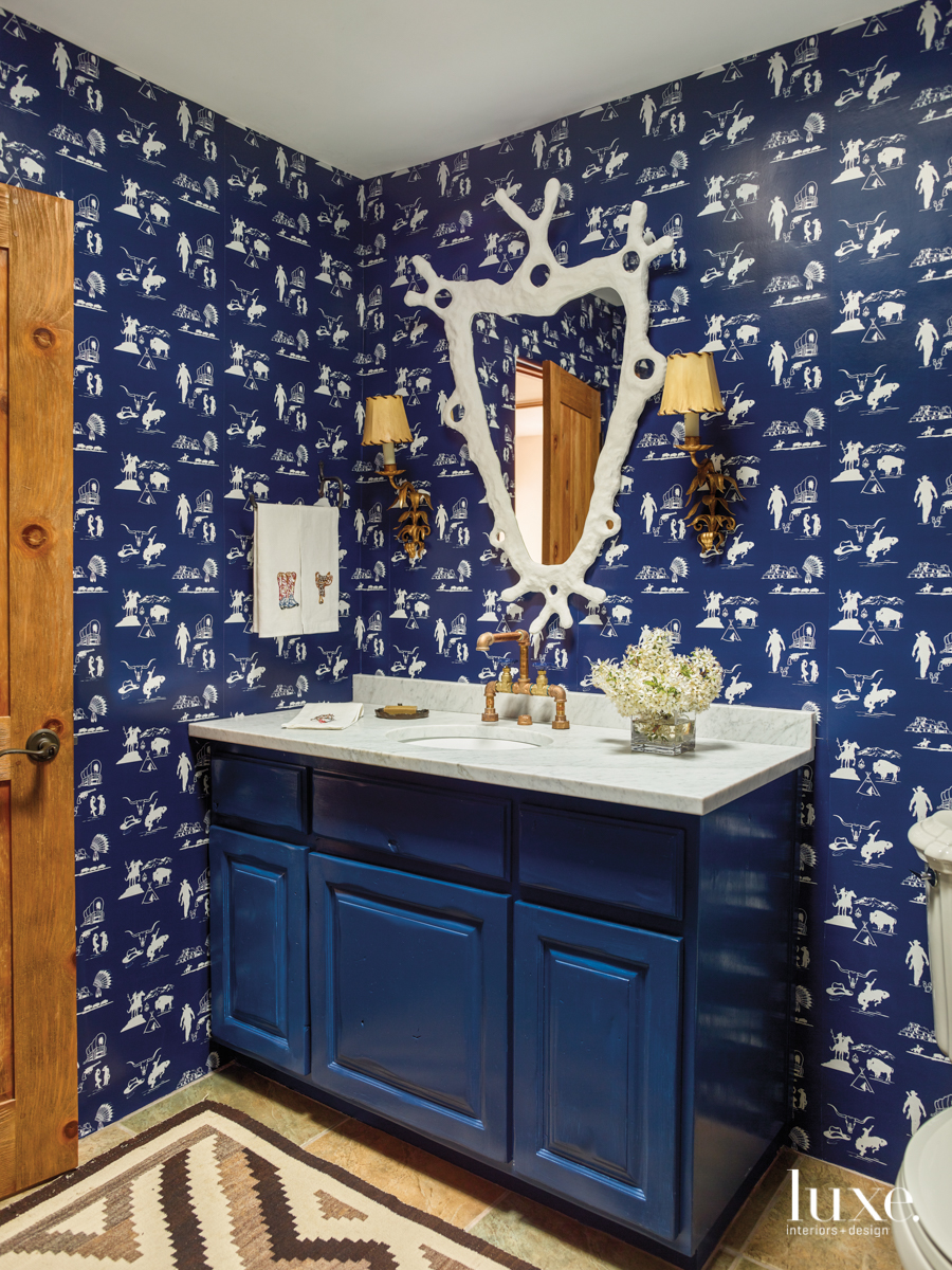 eclectic blue bathroom