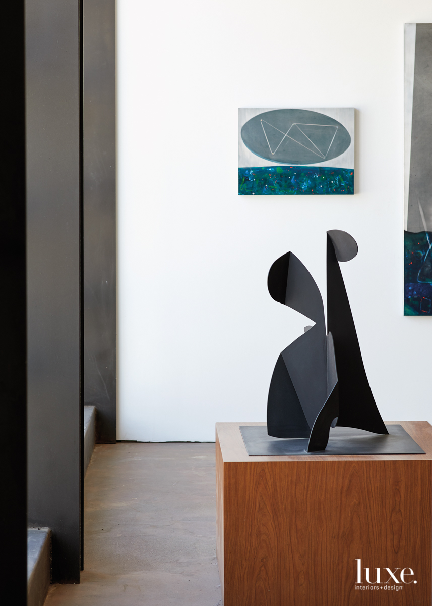 "A welded steel sculpture reflects ""my personal vocabulary of shapes that keep showing themselves in my work,"" Armstrong notes."