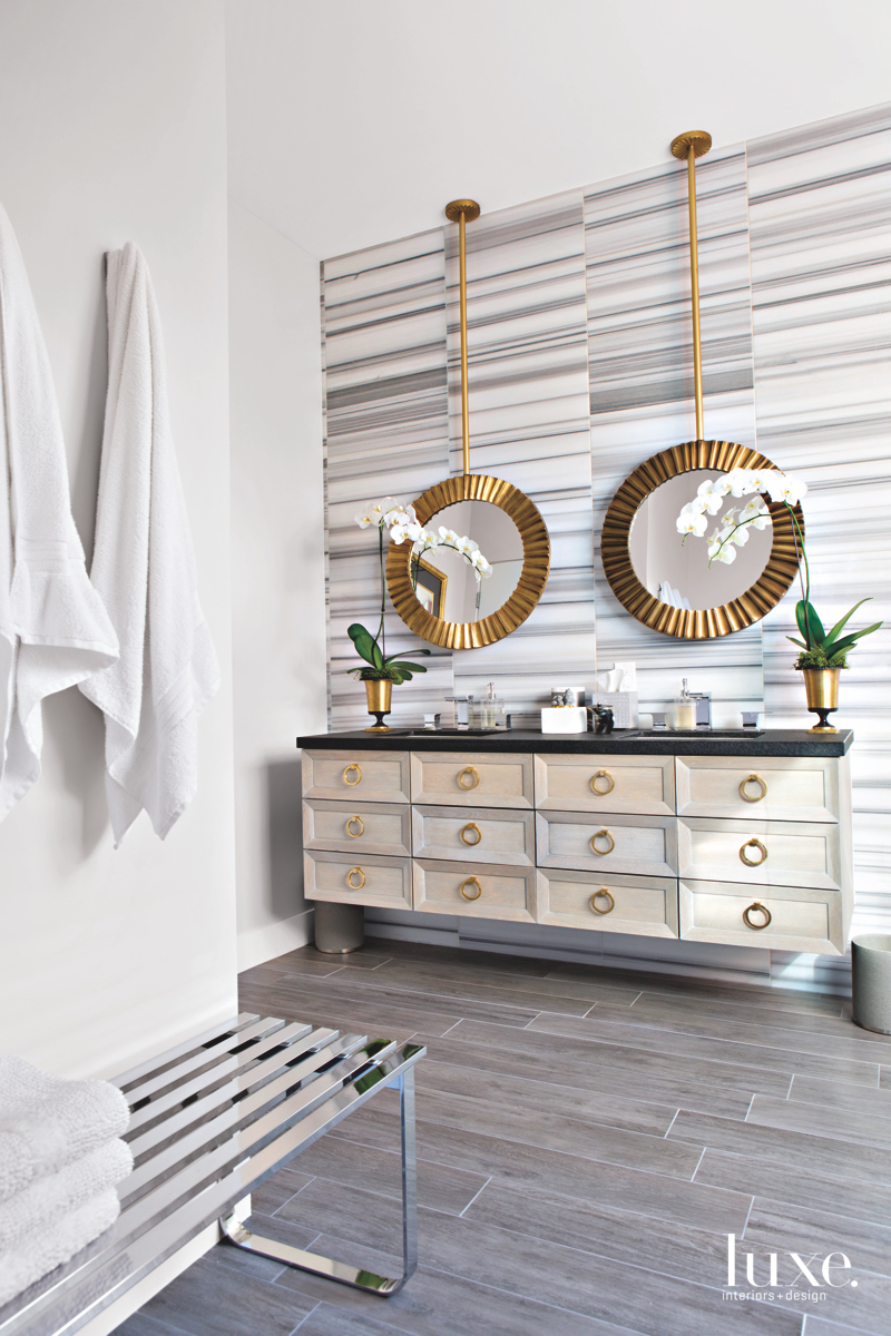 contemporary bathroom gold framed mirrors