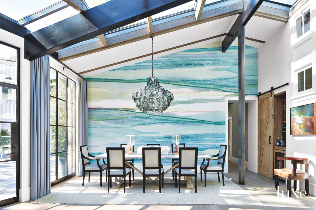 contemporary dining room blue vibrant...